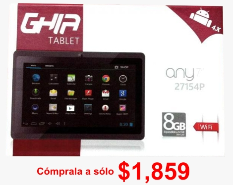 Tablet Ghia NOTGHIA-110 7'', 8GB, 800 x 480 Pixeles, Android, WL